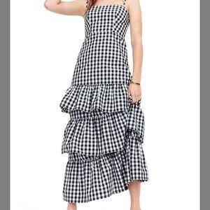 J. Crew black and white gingham ruffle maxi dress